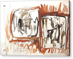 Acrylic Print featuring the painting Dialogue Of Squares by Esther Newman-Cohen