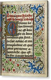Dialogue Of The Duchess Of Burgundy With Acrylic Print by British Library