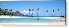 Diamond Head And The Hilton Lagoon 3 To 1 Aspect Ratio Acrylic Print