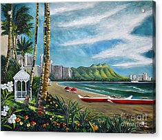 Diamond Head Waikiki Acrylic Print