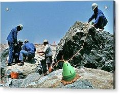 Diamond Miners With Explosives Acrylic Print by Patrick Landmann