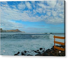Diamondhead And A Yellow Fence Acrylic Print