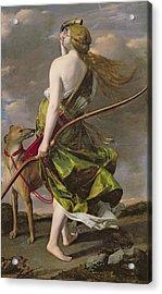 Diana The Hunter, C.1624-25 Oil On Canvas Acrylic Print by Orazio Gentileschi