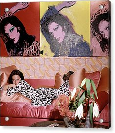 Diane Von Furstenberg In Her New York Living Room Acrylic Print by Horst P. Horst