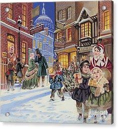 Dickensian Christmas Scene Acrylic Print by Angus McBride