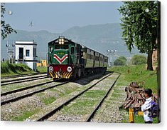Acrylic Print featuring the photograph Diesel Electric Locomotive Speeds Past Student by Imran Ahmed