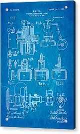 Diesel Internal Combustion Engine Patent Art 1898 Blueprint Acrylic Print by Ian Monk