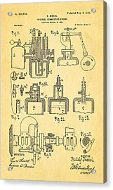 Diesel Internal Combustion Engine Patent Art 1898 Acrylic Print by Ian Monk