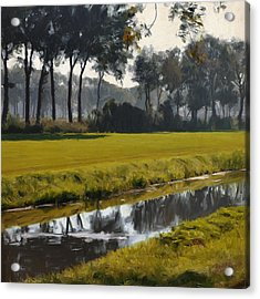 Acrylic Print featuring the painting Diessen Baarschot River Landscape by Nop Briex