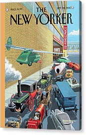 Different Types Of Cars From The Past Waiting Acrylic Print by Bruce McCall