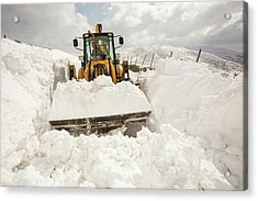 Digger Clearing Snow Drifts Acrylic Print