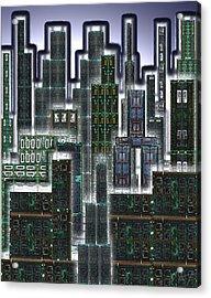 Digital Circuit Board Cityscape 3d - Glow Acrylic Print by Luis Fournier