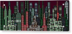 Digital Circuit Board Cityscape 5b - Wine Sky Acrylic Print by Luis Fournier