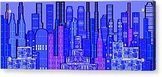 Digital Circuit Board Cityscape 5c - Blue Haze Acrylic Print by Luis Fournier
