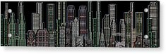 Digital Circuit Board Cityscape 5d - Blacktops Acrylic Print by Luis Fournier