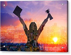 Digital Composite Image Of Woman Holding Award And Cityscape Against Sky During Sunset Acrylic Print by Jirapatch Iamkate / EyeEm