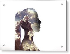Digital Composite Of Woman And Cloudy Acrylic Print by Roman Nasedkin / Eyeem