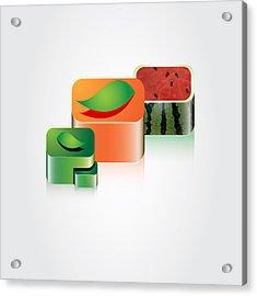 Digital Fruits Acrylic Print by Ali ArtDesign