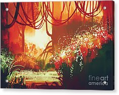 Digital Painting Of Fantasy Autumn Acrylic Print by Tithi Luadthong