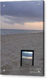 Digital Tablet In Sand On Beach At Sunrise Acrylic Print by Sami Sarkis