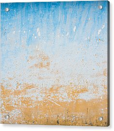 Dilapidated Beige And Blue Wall Texture Acrylic Print