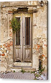 Dilapidated Brown Wood Door Of Portugal Acrylic Print by David Letts