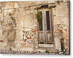 Dilapidated Brown Wood Door Of Portugal II Acrylic Print by David Letts