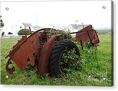 Dilapidated Farm Tractor At The Old Pierce Point Ranch In Foggy Point Reyes California 5d28120 Acrylic Print by Wingsdomain Art and Photography