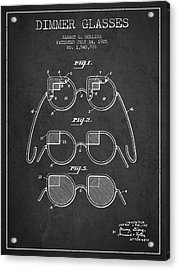 Dimmer Glasses Patent From 1925 - Dark Acrylic Print