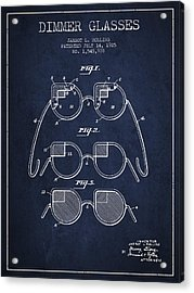 Dimmer Glasses Patent From 1925 - Navy Blue Acrylic Print