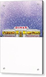 Diner In Snowstorm Acrylic Print by Edward Fielding