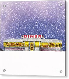 Diner In Snowstorm Square  Acrylic Print by Edward Fielding