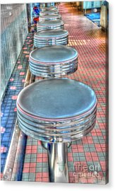 Diner Stools Acrylic Print by Kathleen Struckle