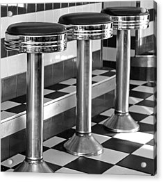 Diner Stools Acrylic Print by Lisa Phillips