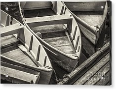 Dinghies Dockside Bw Acrylic Print by Jerry Fornarotto