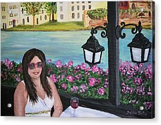 Dining In Venice Acrylic Print by Debbie Baker
