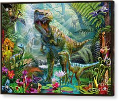 Dino Jungle Scene Acrylic Print by Jan Patrik Krasny
