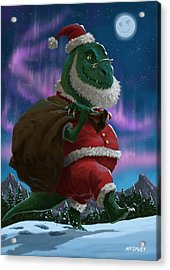 Dinosaur Christmas Santa Out In The Snow Acrylic Print