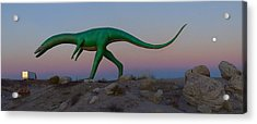Dinosaur Loose On Route 66 2 Panoramic Acrylic Print