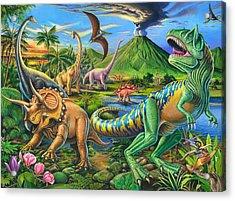 Dinosaur Scene Acrylic Print by Mark Gregory