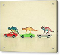 Dinosaurs Ride Cars Acrylic Print by Cassia Beck