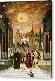 Dionysius The Areopagite Converting The Pagan Philosophers, 1570s Oil On Panel Acrylic Print by Antoine Caron
