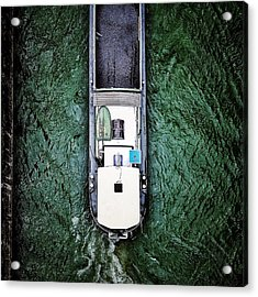 Directly Above Shot Of Barge In River Acrylic Print