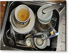 Dirty Dishes In Sink Acrylic Print by Sami Sarkis