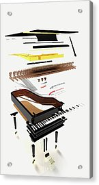 Disassembled Parts Of A Grand Piano Acrylic Print by Dorling Kindersley/uig