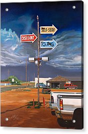 Discount Self-serv Gas Acrylic Print by Karl Melton