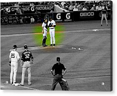 Discussing Strategy Pettitte And Posada Highlighted Acrylic Print