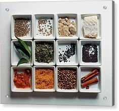 Dishes Of Spices Acrylic Print by Romulo Yanes