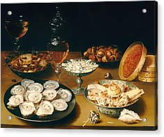 Dishes With Oysters Fruit And Wine Acrylic Print by Mountain Dreams