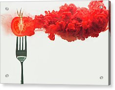 Disintegrated Tomato Acrylic Print by Dina Belenko Photography